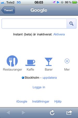 Google Mobile Start page