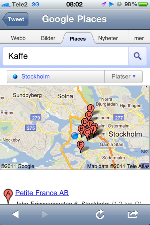 Google Mobile Local Results