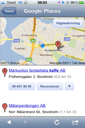 Google Mobile Location results list 2