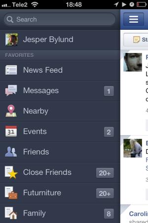 Facebook iPhone app menu